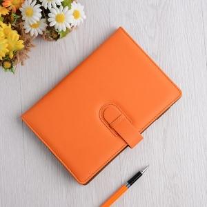 A5高级商务简洁纯色皮插扣PU精装笔记本平装